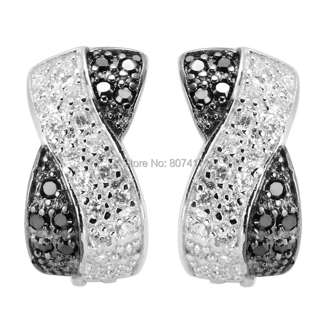 925 sterling Silver Earrings Best Sellers Black and White Cubic Zirconia Q-2157 Beautiful Rave reviews The new listing Wholesale