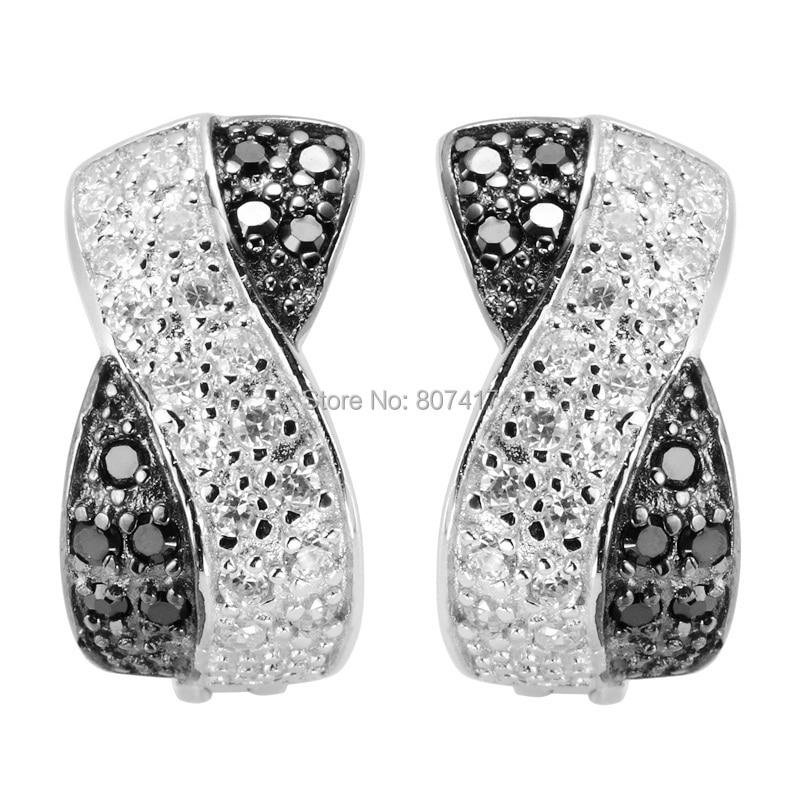 Eulonvan 925 sterling Silver Engagement Woman Ականջօղեր սեքս նորաձևություն Զարդեր և աքսեսուարներ Սև և սպիտակ խորանարդ ցիրկոնիա S-2157