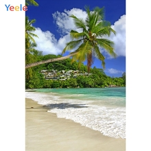 Yeele Seaside Beach Palm Trees Mountains Town Waves Photography Backgrounds Personalized Photographic Backdrops For Photo Studio