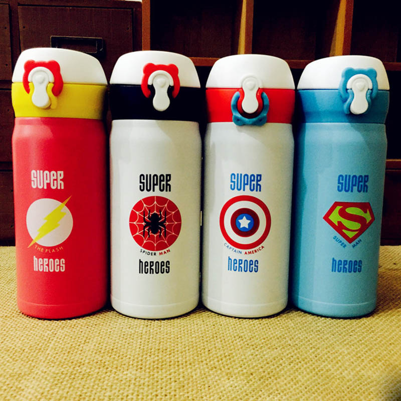 Super <font><b>Hero</b></font> Thermos Vacuum Stainless Steel Superman <font><b>Spiderman</b></font> Funny <font><b>Water</b></font> <font><b>Bottle</b></font> For Kids Thermocup 350ML