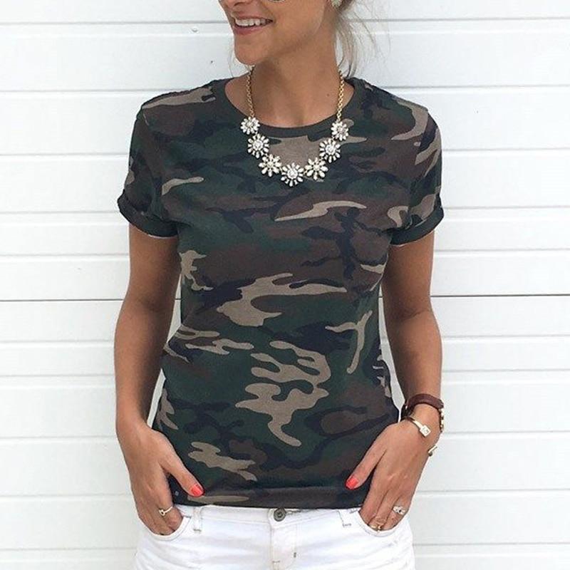 2018 Short Sleeve Summer T-Shirt Women Camouflage T Shirt Girls Casual Tops Tees Slim O-neck Female Cotton Tops Plus Size S-XXXL