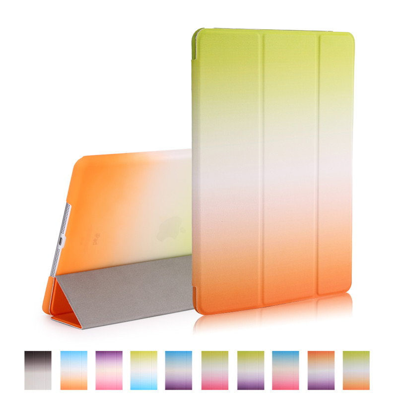 smart case for ipad mini 2 3 rainbow gradient 7.9inch pu leather with pc full protector for apple ipad mini 3 fold