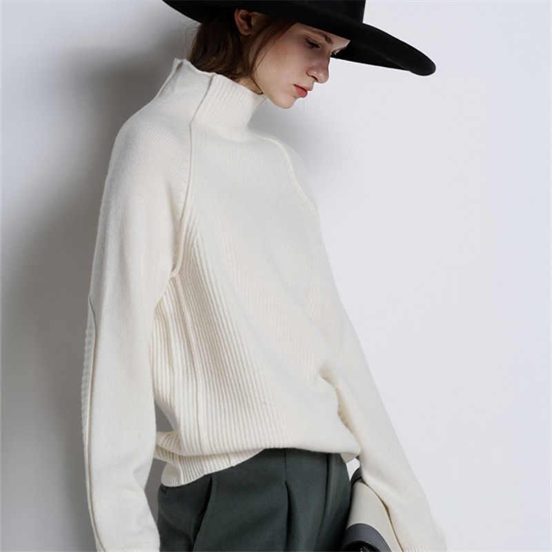 BELIARST חדש סתיו וחורף סוודר קשמיר נשים גודל גדול סוודר רופף בסוודרים צווארון מעובה צמר סרוג חולצה