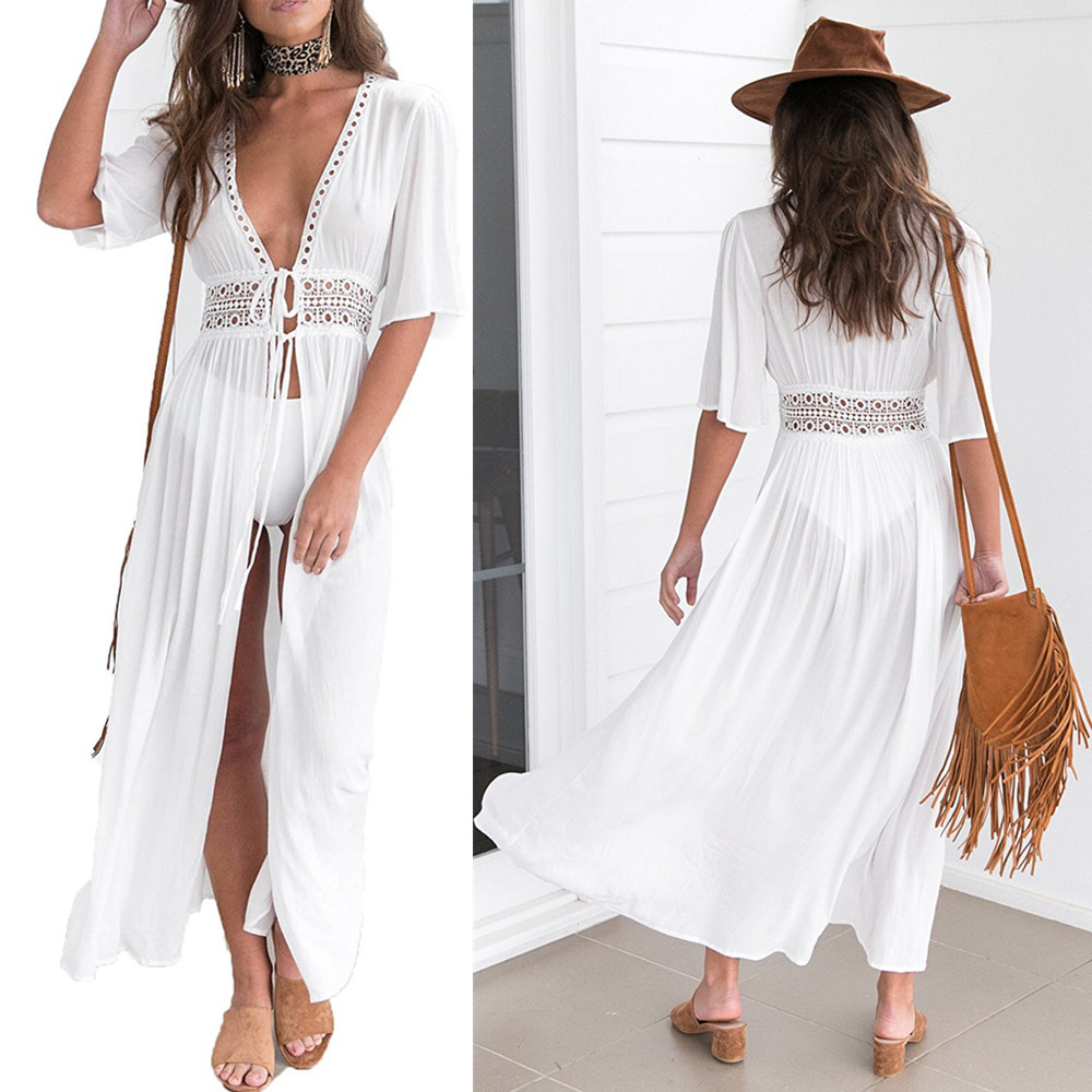 ZOGAA 2019 Causal Lace Chiffon Beach Swimsuit Blouse Girl Solid White Swimwear Cover Up