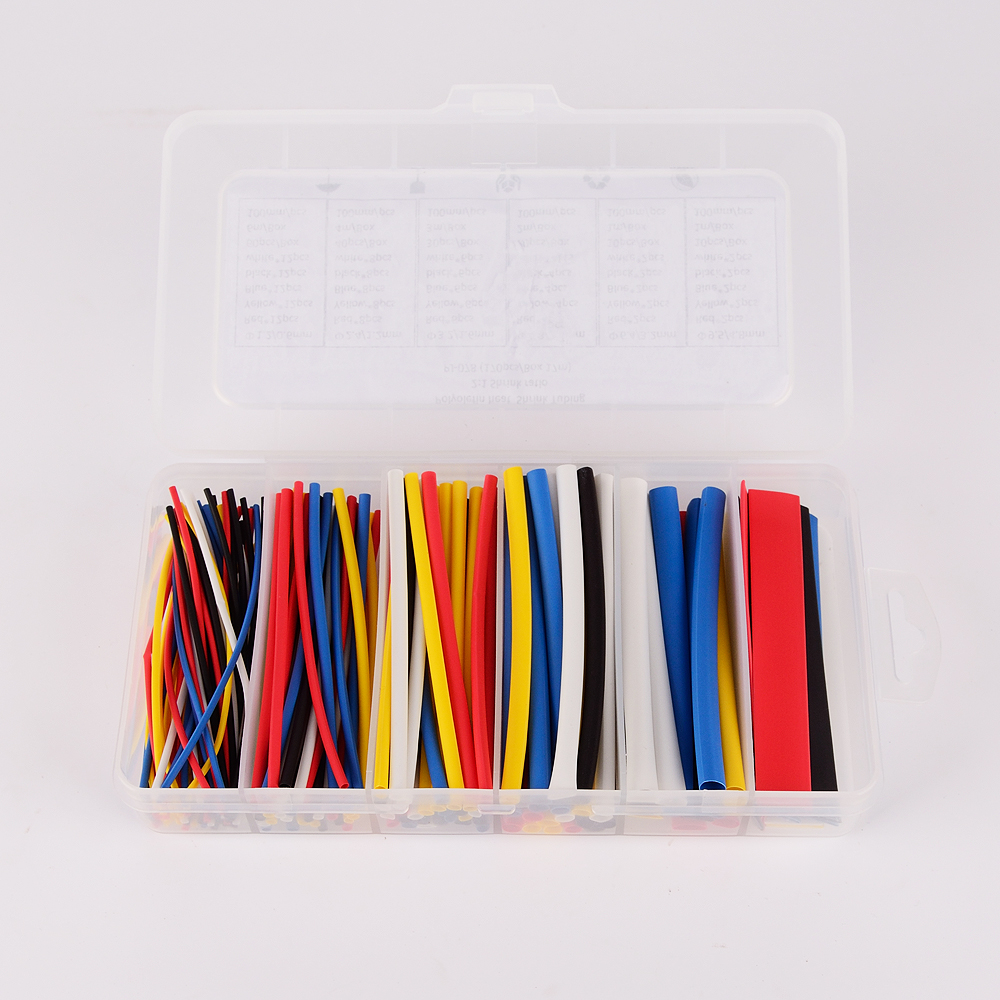 170pcs 100mm 2:1 ratio 6 Size 5 color Polyolefin Heat Shrink Tubing sleeve Cable Wrap Kit
