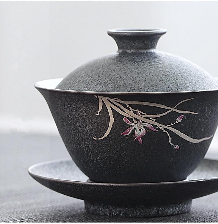 Iron-Glazed Orchid Tureen Gong Fu Tea Bowl 1