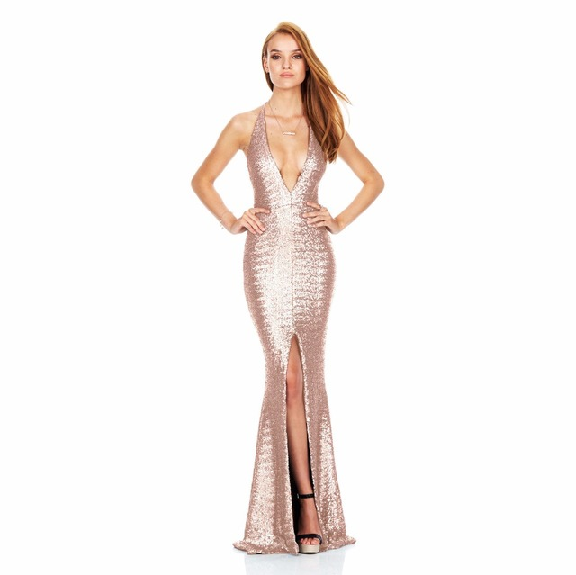 Spring Party Gold Sequin Maxi Dress For Women Glittering Long Sleeve Front  Knot Shift Club Sequin Split Mermaid Dress E8024 342233aa3d5d