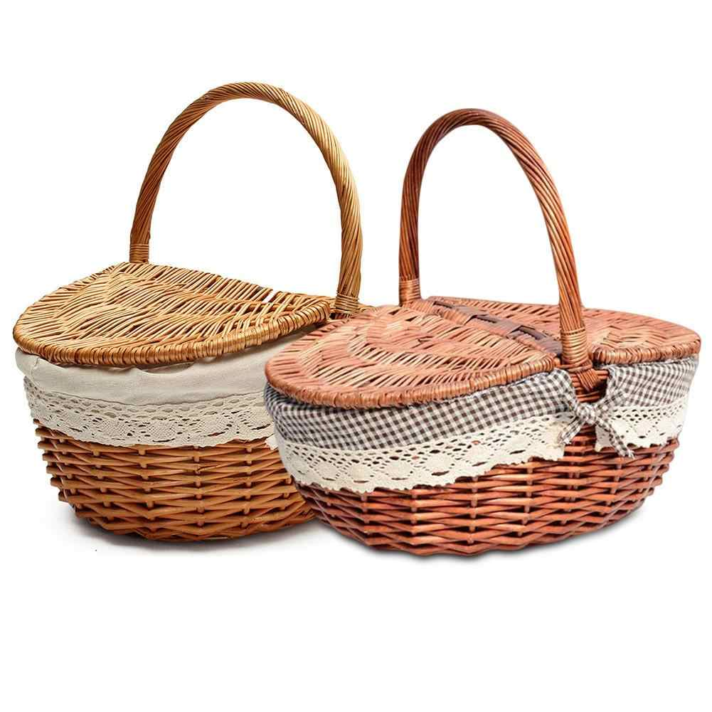 Hand Made Wicker Basket Wicker Camping Picnic Basket Shopping Storage Hamper with Lid and Handle Wooden Wicker Picnic Basket