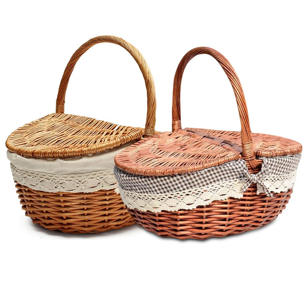 Us 11 3 13 Off Hand Made Wicker Basket Camping Picnic Ping Storage Hamper With Lid And Handle Wooden In