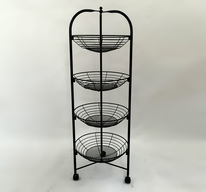Four levels of fruit basket frame. Cosmetics display. Fruit and vegetable display stand promotion quality control and safety of fruit juices nectars and dairy products