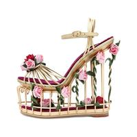hot selling caged style platform sandal 2018 metal striped ankle strap wedge sandal for woman cutouts heels flower sandal