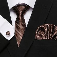 Fashion Mens Tie Set Gold Snow Neck Pocket Square Cufflinks 7.5cm Classic Jacquard Silk Ties for Men Suits Corbatas
