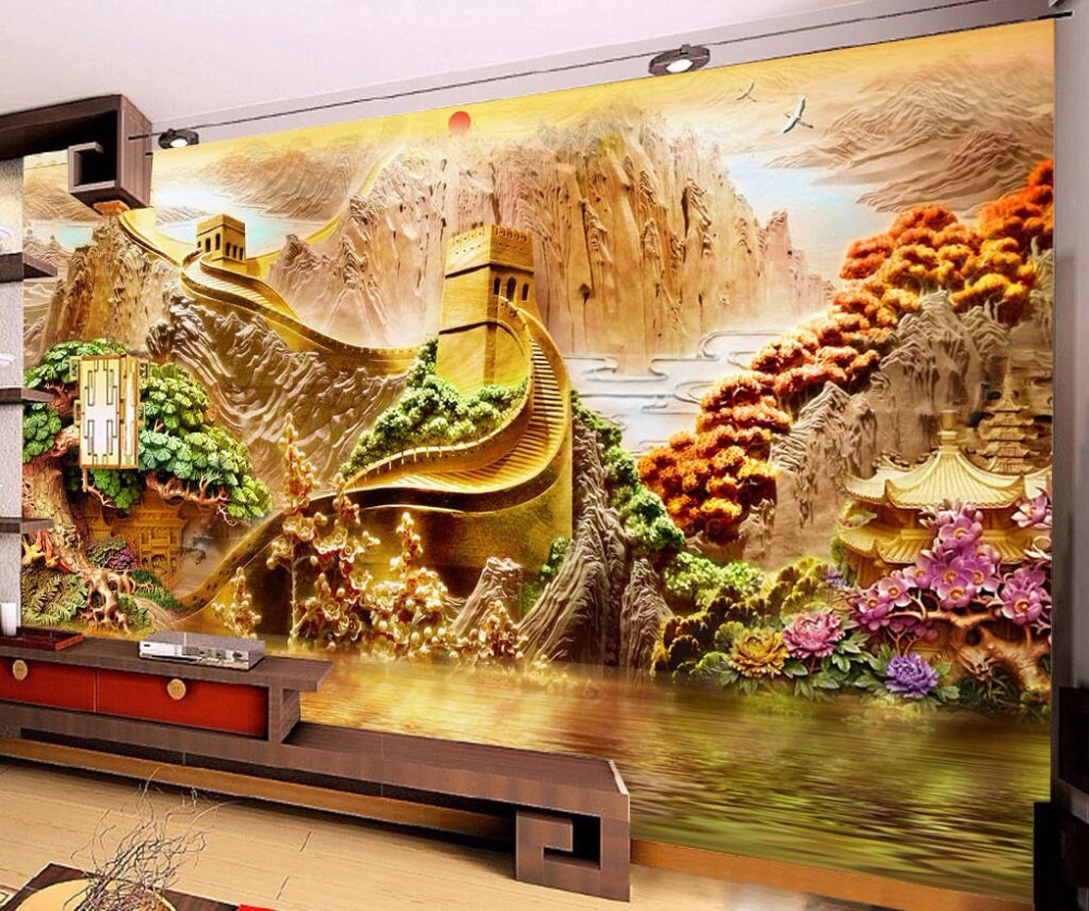 beibehang Home decoration wallpaper custom mural beautiful mountains and rivers 3D relief background wall mural 3d wallpaper