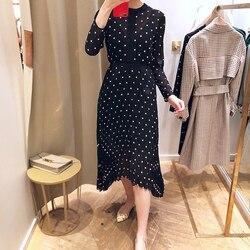 Envío Gratis 2018 nueva moda flor bordado manga larga Mujer elegante larga irregular falda señora gasa falda