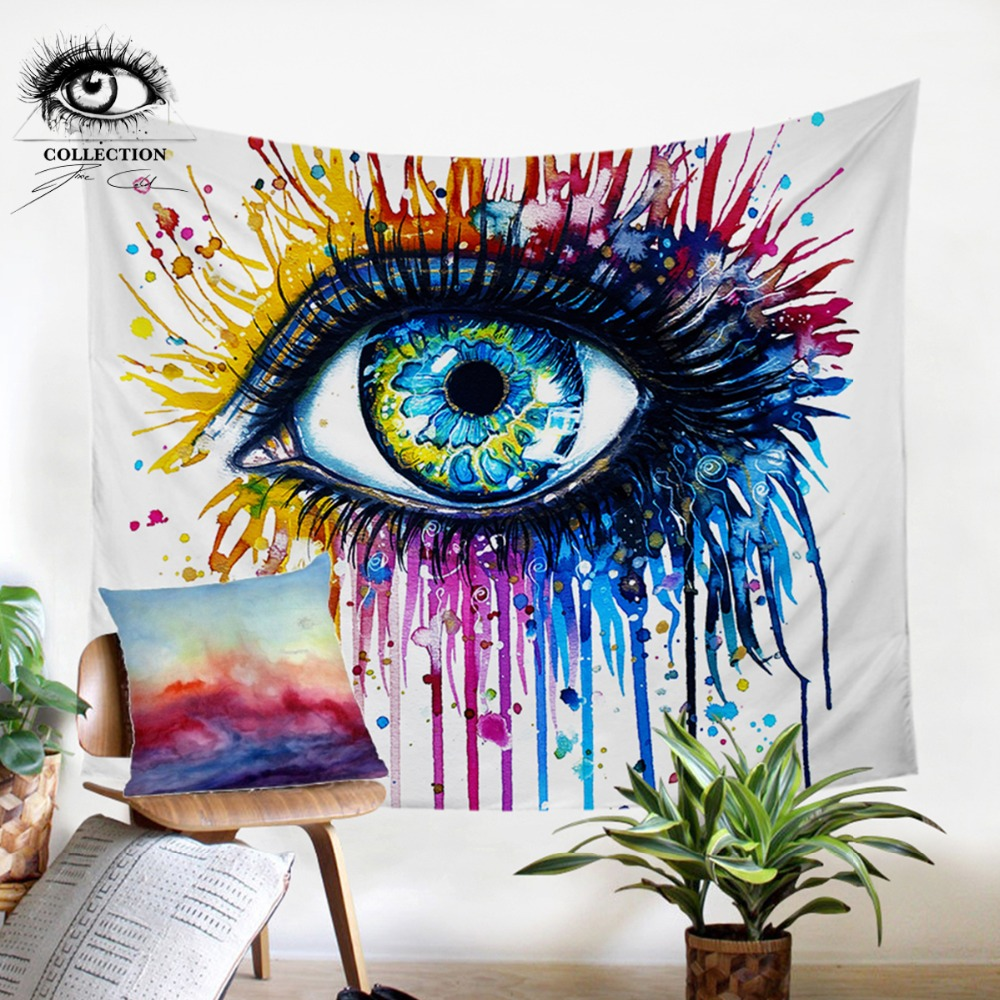 Regenbogen Feuer durch Pixie Kalte Kunst Wandteppich Hängen Bunte Gedruckt Vorhang Aquarell Auge Dekorative Wandteppich Bettdecken