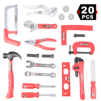 20pcs Power Tool Kit for Kids Pretend Play Real Tool Toy Set Includes Drill, Hammer, Saw, Spanner and Construction Accessories