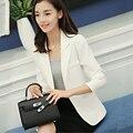 Branco/Cinza das Mulheres Blazer Feminino 2017 Primavera Outono Coreano Moda Casual Único Botão Blazers Femme Jaquetas de Escritório Senhoras