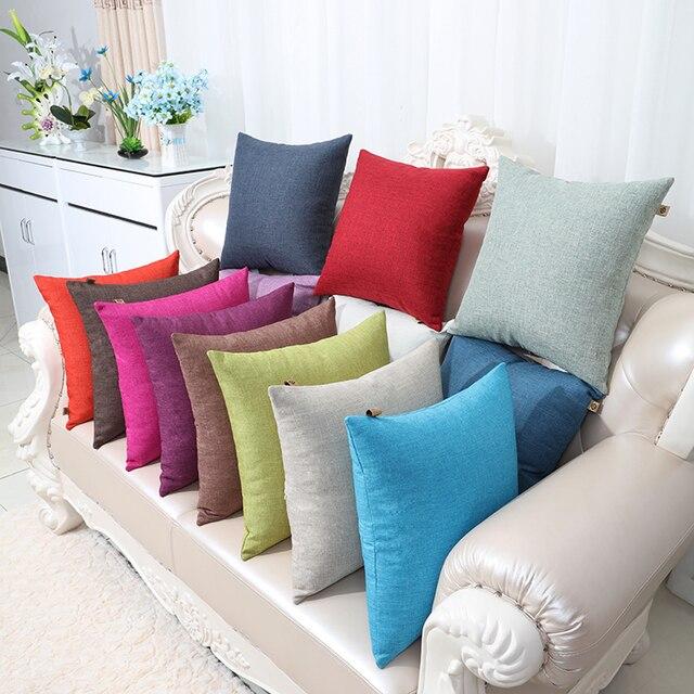 High Quality Large Plain Linen Cushion Cover Chair Sofa Cotton