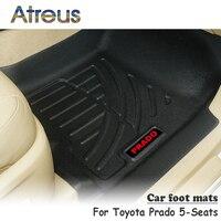 Atreus NEW 1Set TPE Car Floor Foot Mat For Toyota Prado 5 Seats Accessories Waterproof Carpet Car styling Anti slip mat