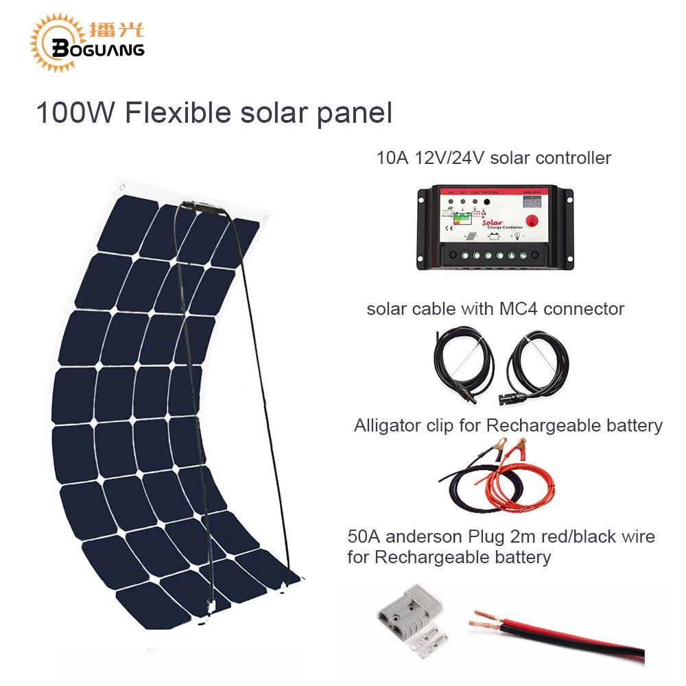 Boguang 100 W DIY RV/Marine Kits Sistema Solar 1x100 W panel solar flexible 12 V, 1x 10A 12 V Controlador solar set cables baratos.