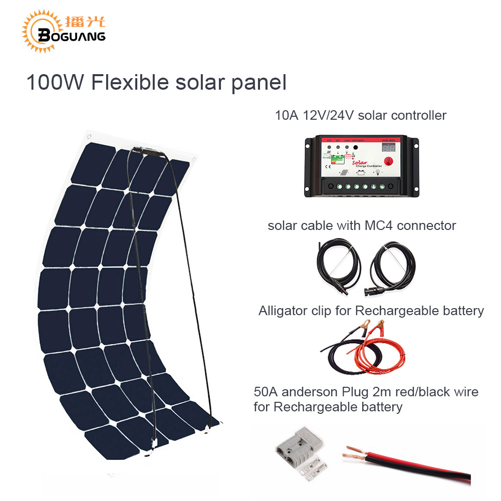 Boguang 100W DIY RV/Marine Kits Solar System 1x100W flexible solar panel 12V,1x 10A 12V solar controller set cables cheap .