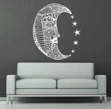 Home Fashion Styling Decor Wall Mural Moon Pattern Sun Dual Crescent Vinyl Art Design Sticker With Stars Y-899