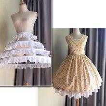 2019 Ruffles 4 ชั้นชีฟอง Petticoat Lolita Petticoat Ballet Rockabilly Crinoline งานแต่งงาน Petticoat