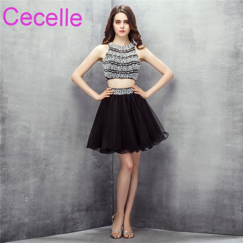 Black Two Pieces Short Cocktail Dresses 2018 Crystals Top Tulle
