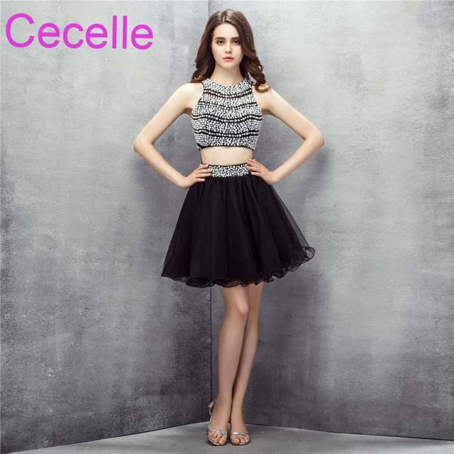 Online Shop Black Two Pieces Short Cocktail Dresses 2019 Crystals Top Tulle  Skirt Juniors Informal Cocktail Party Dresses Custom Made Real  1fc759bab