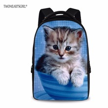 Twoheartsgirl 15 дюймов милый кот дизайнер детей школьного рюкзак для девочек-подростков альпинизмом износостойкости ранец студент Bagpack