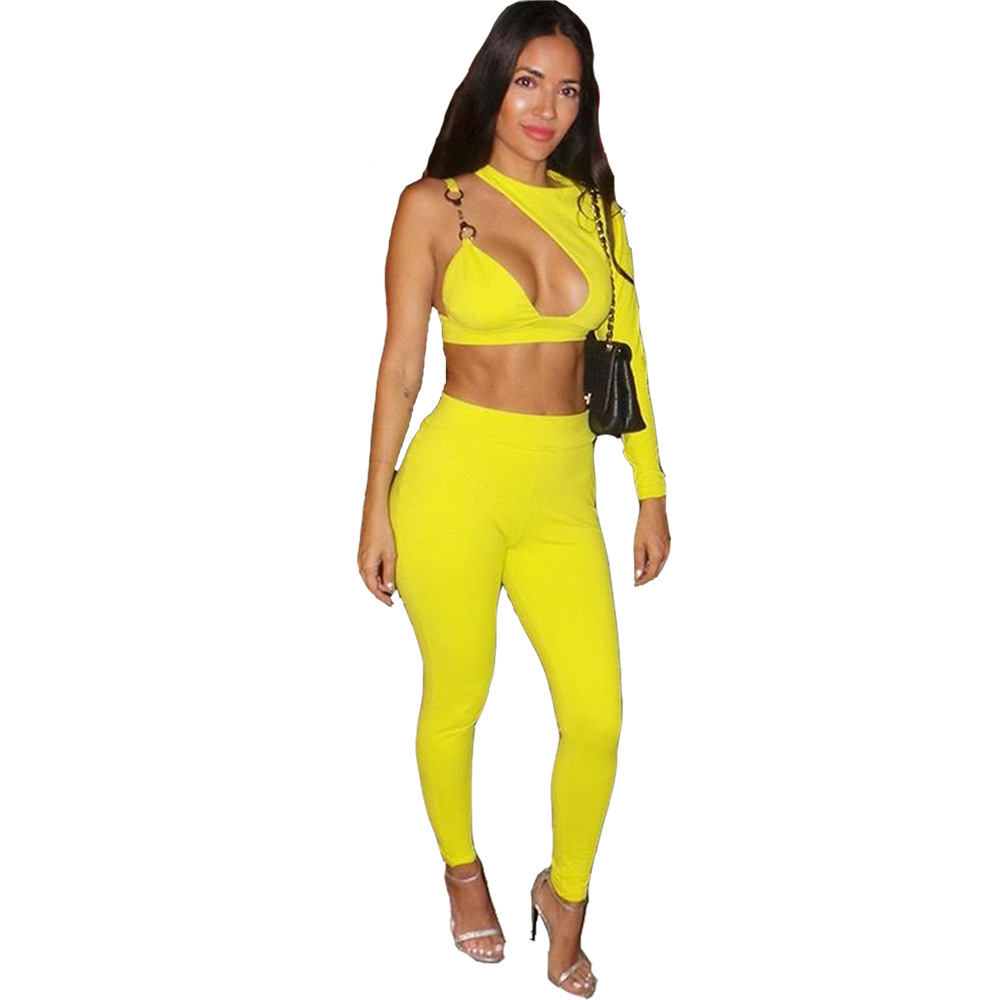 976da967d519 Women Long Sleeve One Shoulder Hollow out Crop Top And Pant Bodycon ...