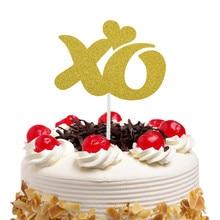 Cake Toppers Flags Glitter XO MR MRS Heart Kids Birthday Cupcake Topper Wedding Bride Baby Shower Party Baking DIY Decor Xmas
