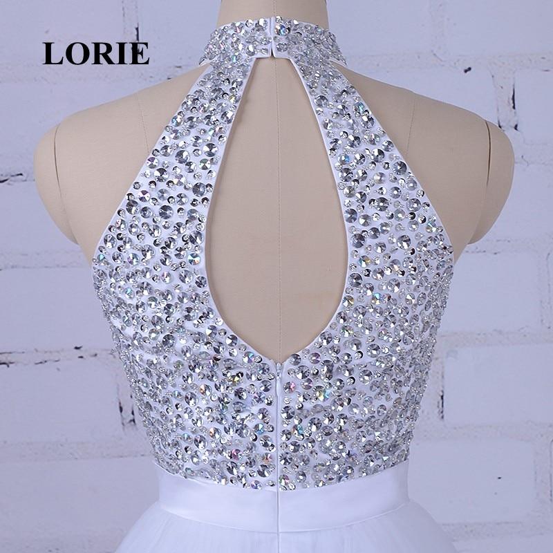LORIE Hvit Prom Dress For Graduation Halter A-Line Beaded Krystaller - Spesielle anledninger kjoler - Bilde 6