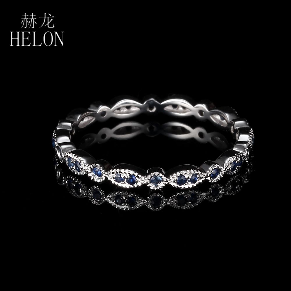 HELON Art Deco Antique Band Real 10K White Gold Round Genuine Sapphires Ring Wedding Gemstone Ring Band Wedding Anniversary Band кольцо s j063 wedding band ring