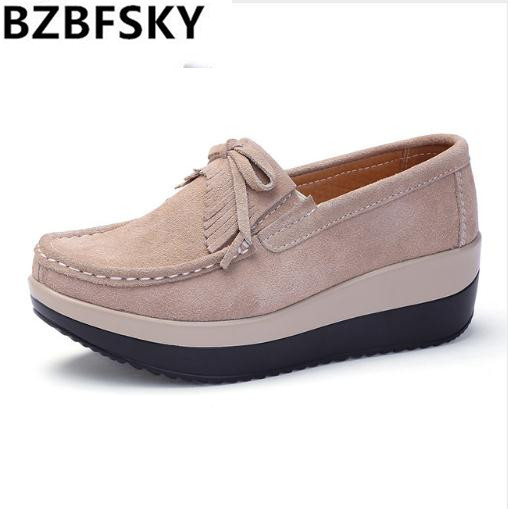 BZBFSKY 2018 Spring Women Platform Sneakers Shoes   Leather     Suede   Fringe Slip-On Shoes Creepers Moccasins Chaussures Femme