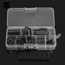 66 pçs/set 6,8, 14,16, 18,20, 24,28 pinos-DIP IC Sockets Adaptador de Solda Tipo Soquete Kit