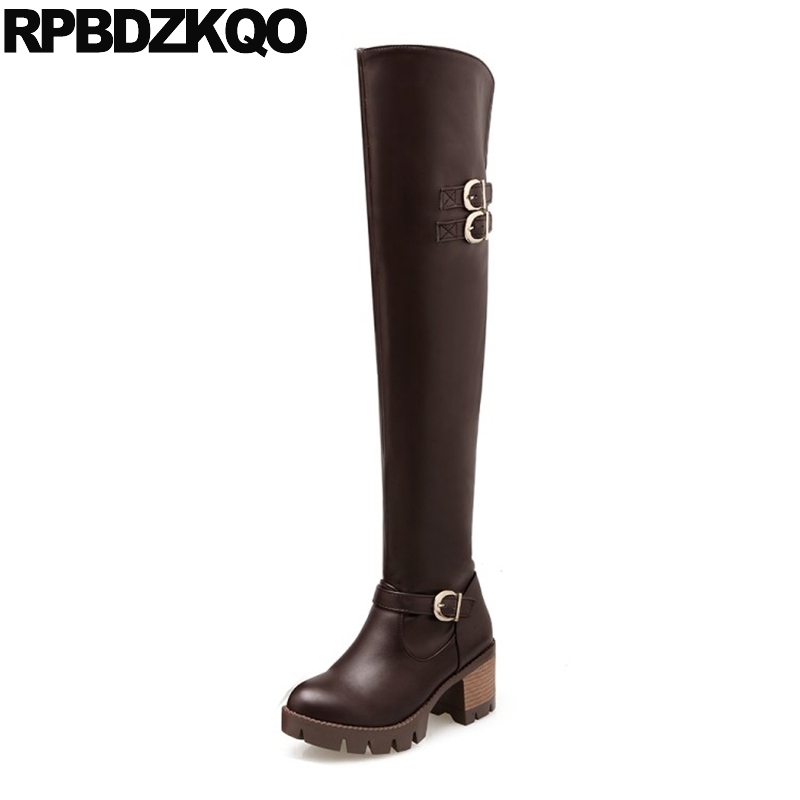 Long Size 41 Waterproof Chunky Shoes Over The Knee Slim Belts High Heel Women Big 10 Slip On 9 Thigh Boots For Plus Block Brown nayiduyun new thigh high shoes women wedge slip on over the knee boots high heel punk sneaker oxfords platform riding greepers