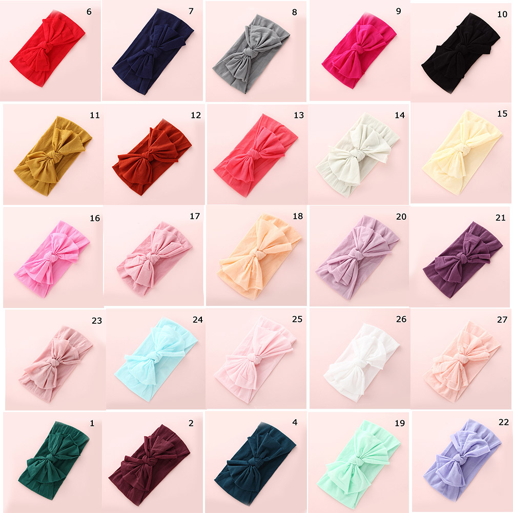 2019 New Fashion Cute Baby Headband Toddler Kids Girls Bow Hairband Turban Knot Rabbit Headwear Red Yellow Blue Black White(China)