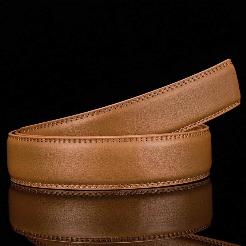 Plyesxale 3,5 cm cinturones de cuero sin hebilla cinturón de cuero genuino de vaca sin hebillas automáticas cinturones de diseñador de alta calidad G109