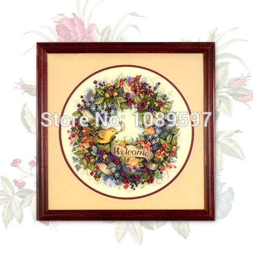 Bird With Wild Berry Garlands Patterns Embroidered Cross Stitch Kit T932 On Needlework Embroidery Cross-stitch Thread Sets