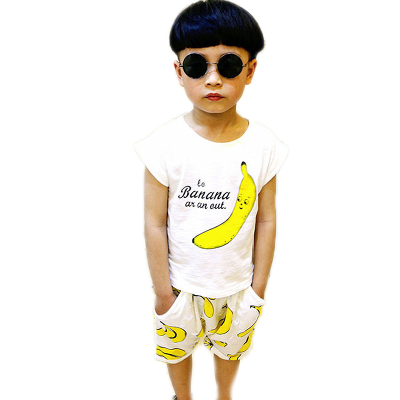 children clothing set 2017 new summer baby boy clothes sets top short sleeve banana printed t shirt+harem pants 2-7T boy sets