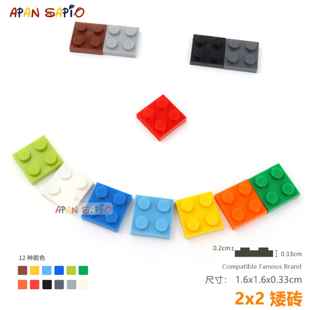 30pcs/lot DIY Blocks Building Bricks Thin 2X2 Educational Assemblage Construction Toys For Children Size Compatible With Lego