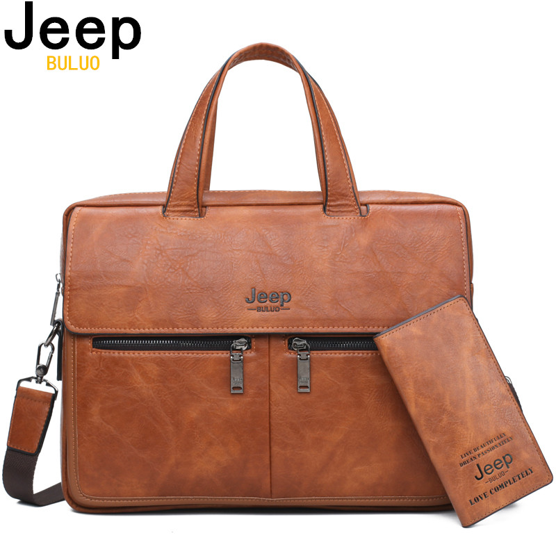 JEEP BULUO Famous Brand Men Bags Business Briefcase Bag Cow Split Leather High Quality Travel Bags For 14