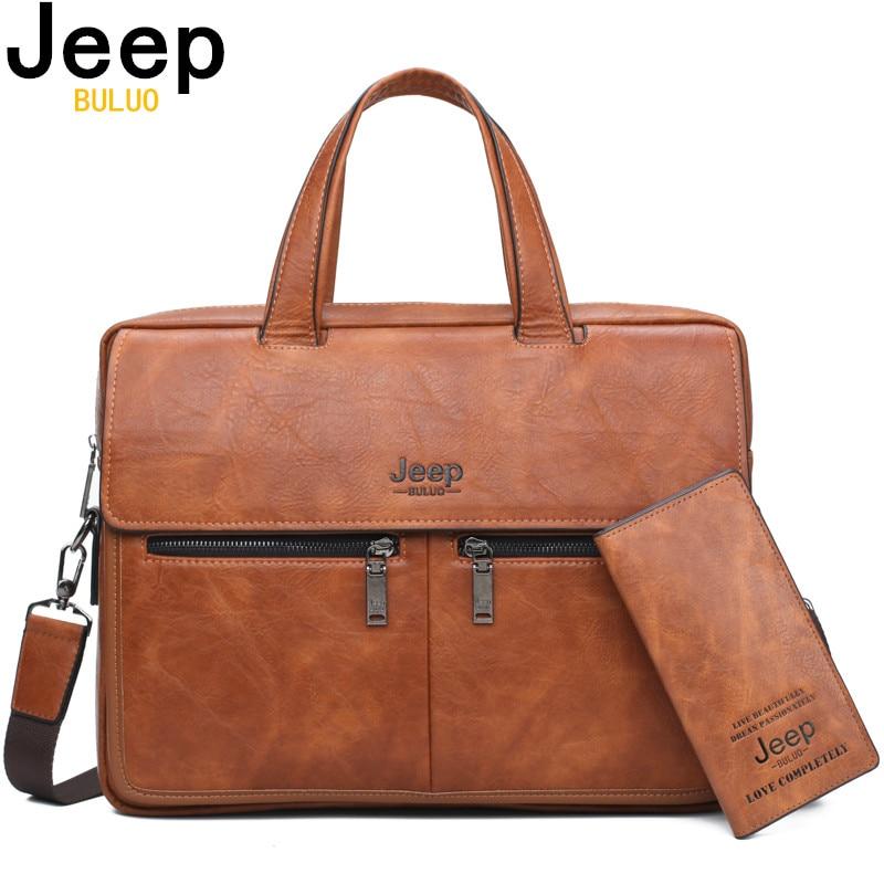 """JEEP buuluo znane marki mężczyźni torby walizka biznesowa torba krowa skóra Split wysokiej jakości torby podróżne dla 14 """"Laptop A4 mężczyzna torba w Teczki od Bagaże i torby na  Grupa 1"""