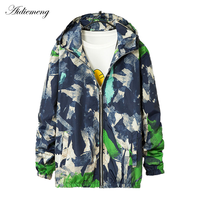 2018 Summer Windbreaker   Jacket   Women   Basic     Jacket   Hooded Coats Female Print Zipper Lightweight Thin   Jacket   Men Jaqueta Masculina