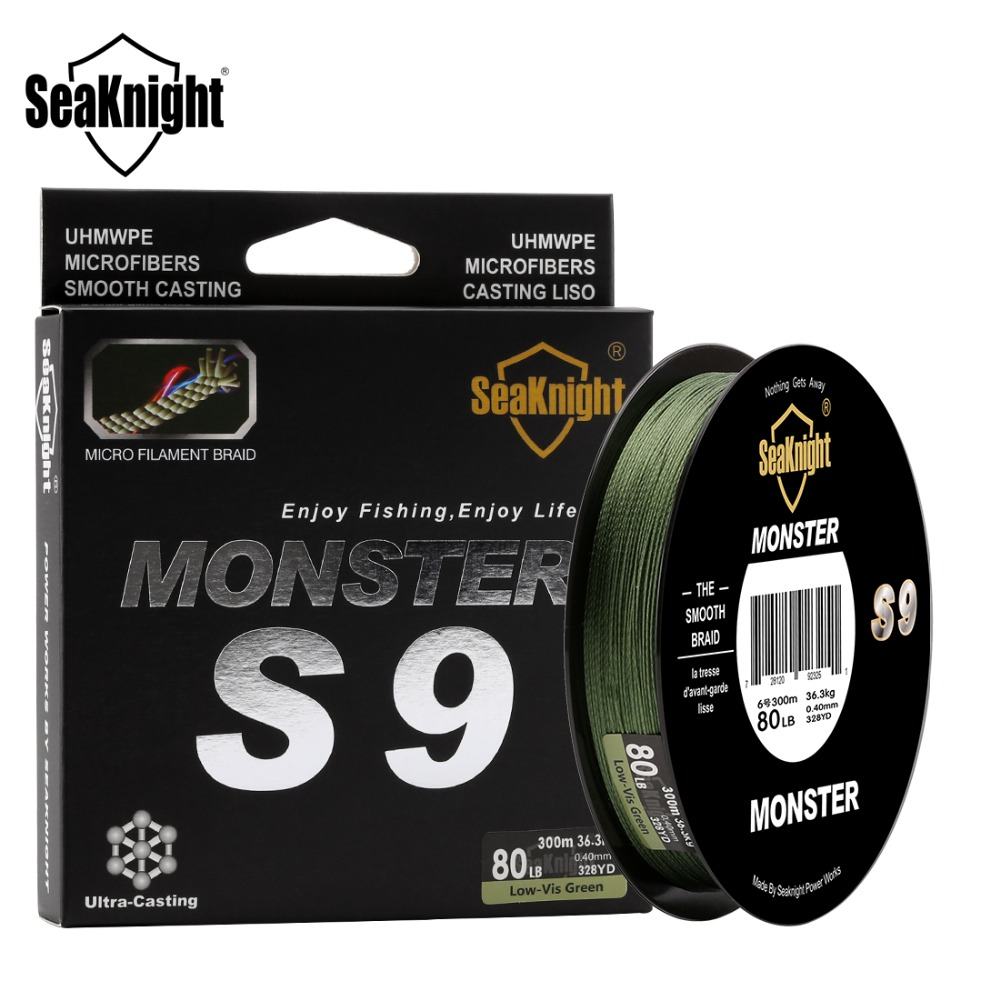 SeaKnight Monster S9 Braid Fishing Line 300M 20 To 100LB Strong Durable 9 Strands Smooth PE Line S Spiral Braided Tech Saltwater