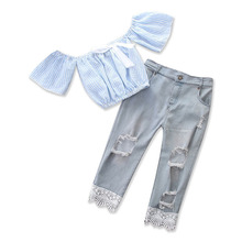 2018 Fashion Children Girl Summer Clothes Off shoulder Blue Dots Linen Tops+Girls Long Jean 2PCS Outfits Kids Clothing Set girls floral blouse kid s clothes long sleeve off shoulder tops children clothing summer girl s outfits