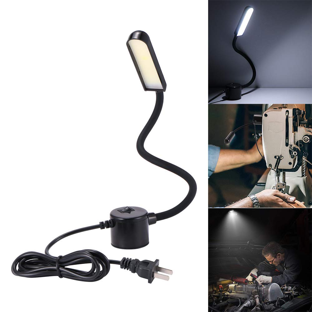 3W/6W/8W COB Daylight Sewing Machine LED Work Light 110-265V Magnetic Mounting Base Gooseneck Lamp For All Sewing Machine Light