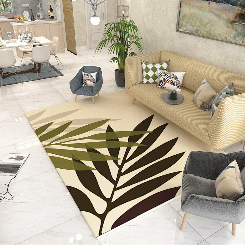 Leaf Printed Home Great Room Rugs Anti-slip Large Carpets For Living Room Bedroom Rug Household Decorate Rectangle Floor Mats