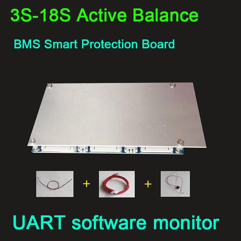 Dykb Smart 3 S-18 S 40a Li-ion Lifepo4 Attivo Equilibrio Bms Bordo Di Protezione Di Coulomb 4 S 7 S 8 S 10 S 12 S 13 S 14 S 16 S Monitor Del Pc Gprs